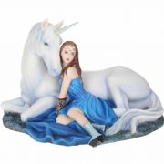 Blue Moon Fairy and Unicorn Figurine Statue Ornament Sculpture Gift